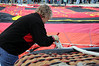 Attaching the anchor line to the Wells Fargo basket.