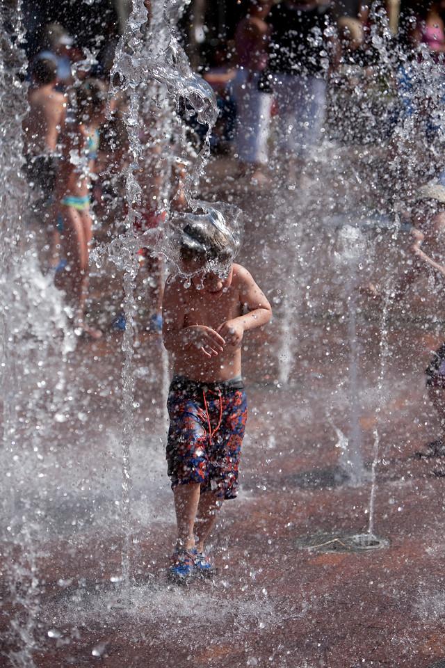Child in a fountain