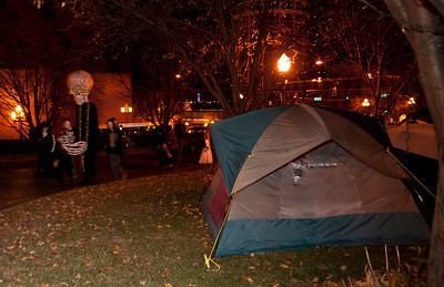 The march circles the Occupy Duluth encampment