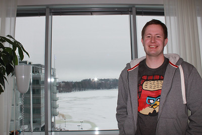 Rovio CEO Mikael Hed with the snowy view from his Espoo, Finland office.