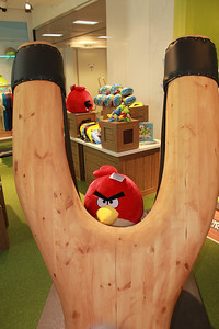 A giant slingshot is the centerpiece of the concept store inside Rovio's Espoo, Finland headquarters
