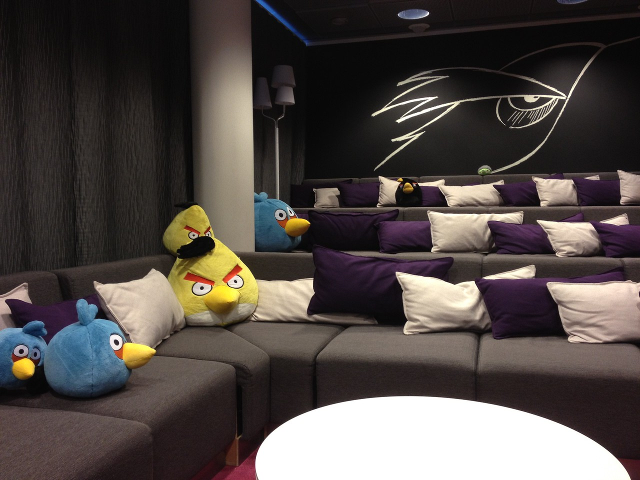 A theater inside Rovio's headquarters, home to staff movie days, among other gatherings.