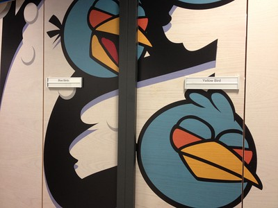 Each of the company's conference rooms is named for one of its characters, in this case Blue Bird and Yellow Bird.