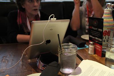 An iPad serves as a menu at the CNN Grill.