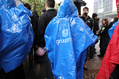 GroupMe, Discovery and other companies came up with last-minute rain ponchos to hand out to SXSW attendees.