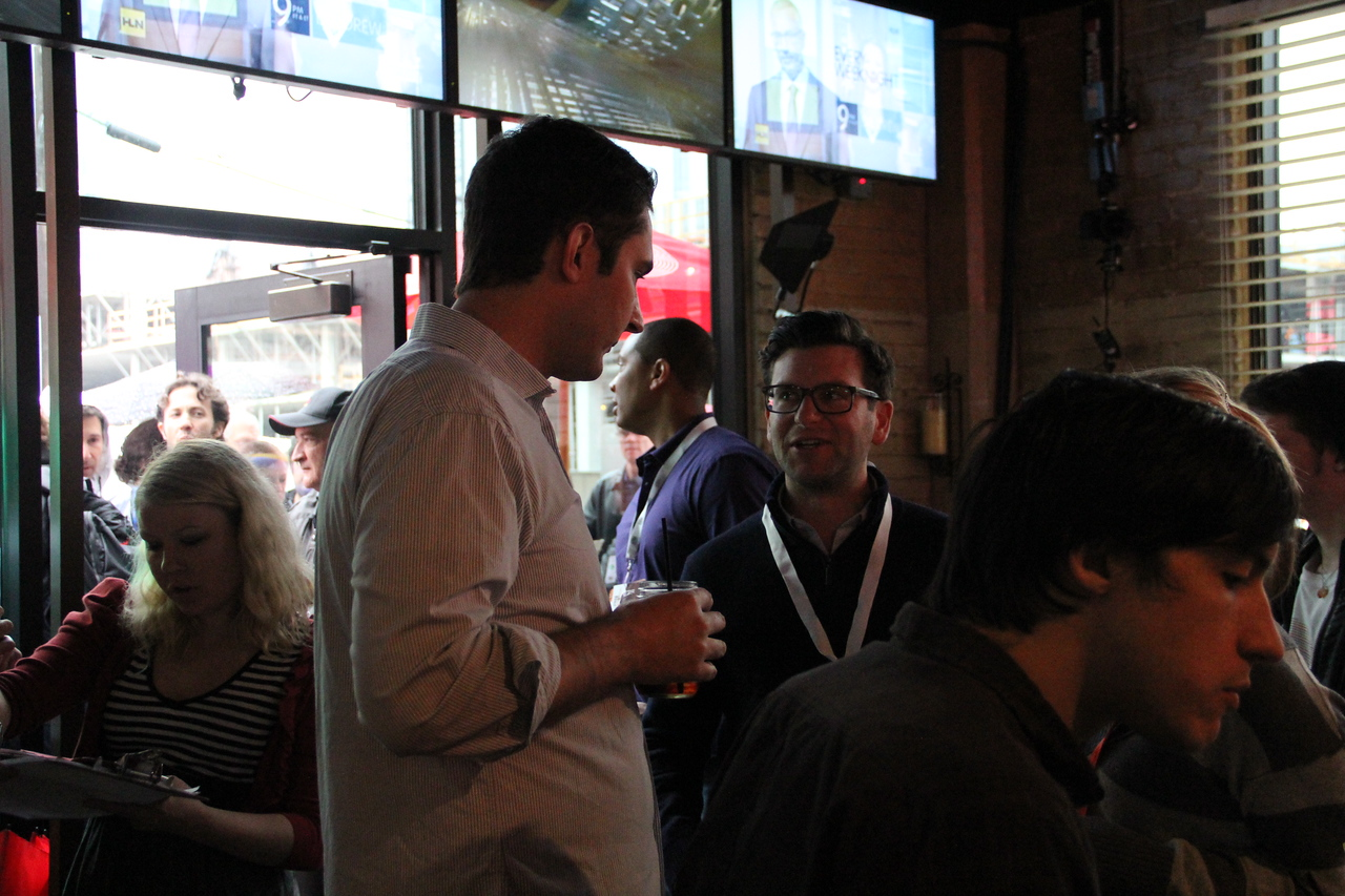 Instagram co-founder Kevin Systrom chats with Dave Gilboa of Warby Parker at the CNN Grill.