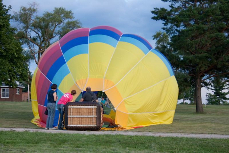 Hot Air Balloons packing up to head back to the fairgrounds.<br /> Allen County Fair 2013