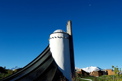 Alpe d'Huez church. It a glorious cloudless day.