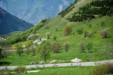 Cyclists on the road to Alpe d'Huez.