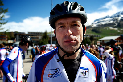 Hugo after finishing the first climb of the Alpe on his 50th birthday. He could not be happier.