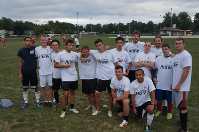 Some of the alumni team from the 10th Annual Alumni Soccer Game at Lutheran West