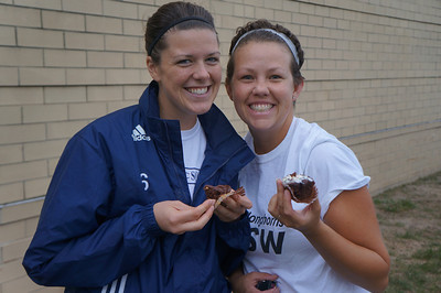 Enjoying cupcakes at the 10th Annual Alumni Soccer Game at Lutheran West