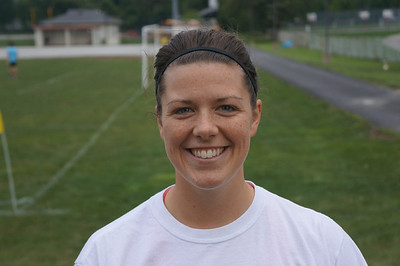 Assistant women's soccer coach, Mia Pauluhn at the 10th Annual Alumni Soccer Game at Lutheran West.