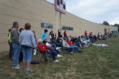 Fans watching the action at the 10th Annual Alumni Soccer Game at Lutheran West