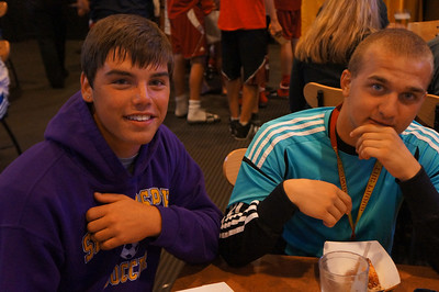 Alumni & parents join the team at Buffalo Wild Wings after the 10th Annual Alumni Soccer Game at Lutheran West.