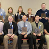 Chadron State College inducted 10 new members to its Athletic Hall of Fame during homecoming Oct. 27. They are, front, from left, Judd Hoos, Curt Moffat, Corey Arndt, Jason Funk, Curt Deines. Back row, Jeremy Robinson, Jami Huckfeldt, Libi (Malone) Susag, Patti Buettner and Doug Lytle. (Photo by Justin Haag)