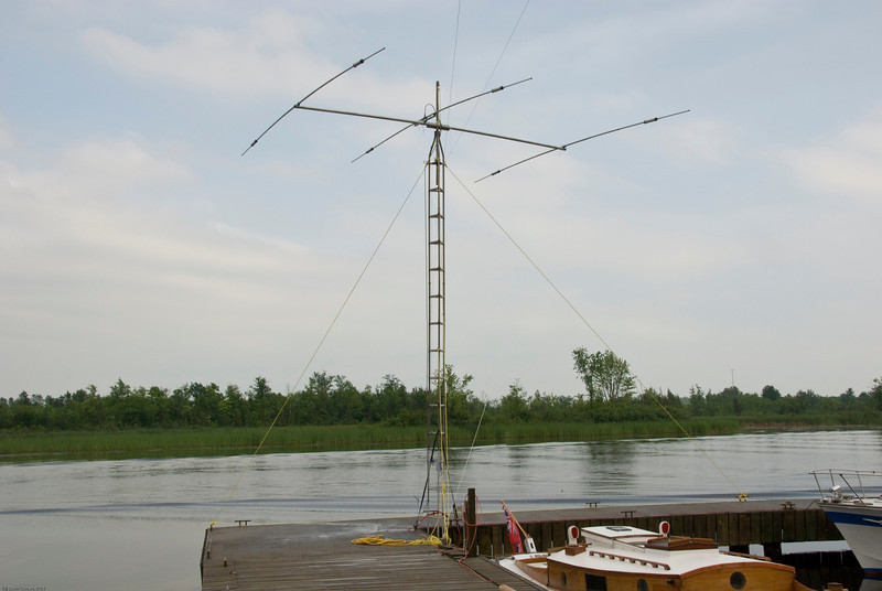 The 10/15/20 yagi on a 30' tower that we used for one of our 6 stations.