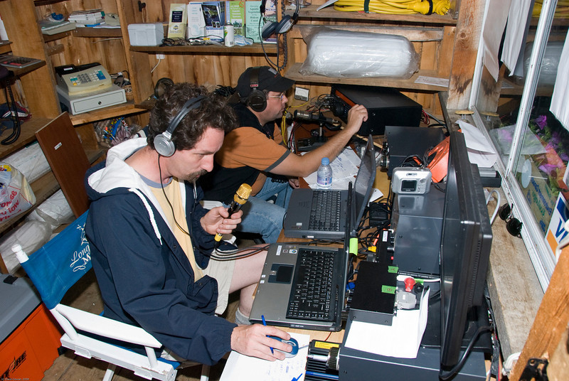 Mike (VA3MPM, front) and Gordon (VE3XGD) on HF in the wee hours of the morning, just prior to the lightning storm.