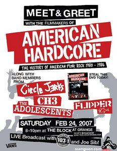 American Hardcore: The History of American Punk Rock 1980-1986  DVD Release Party