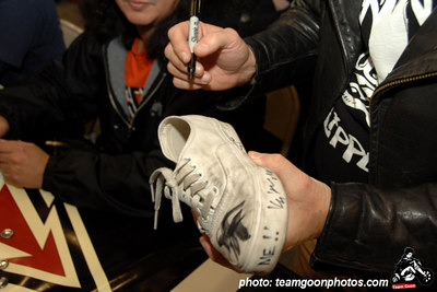 Sure, I will sign your shoe - American Hardcore DVD Release Party on Complete Control Radio- at VANS Skatepark - February 24, 2007 - Orange, CA