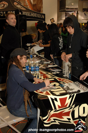 Keith Morris of Circle Jerks/Black Flag taking care of the kids - American Hardcore DVD Release Party on Complete Control Radio- at VANS Skatepark - February 24, 2007 - Orange, CA