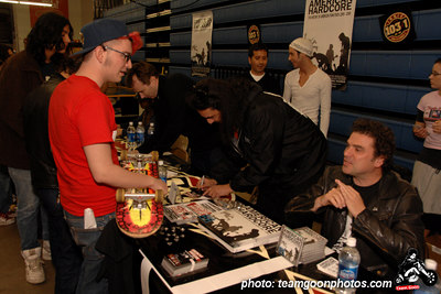 Steve of Flipper with a fan - American Hardcore DVD Release Party on Complete Control Radio- at VANS Skatepark - February 24, 2007 - Orange, CA