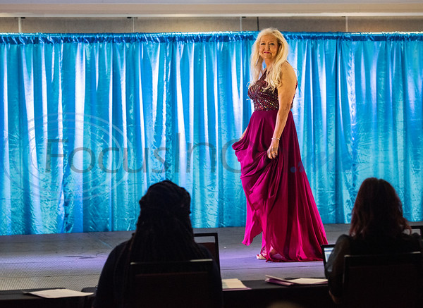 Diann Blevins, 65, of Alexander, Arkansas, competes in the America's Majestic Miss Texas pageant at the Holiday Inn S. Broadway in Tyler on Sunday, July 19, 2020. Blevin's platform aspires to help women heal emotionally. She serves as a pastor and is also an artist.