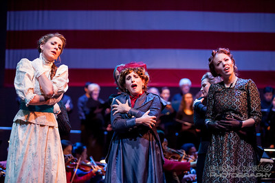 President Seance scene: Isabella (Katrina Thurman), Roxy (Joy Hermalyn), and Elizabeth (Rebecca Cloudy) in Anchorage Opera's world premier of Mrs. President.
