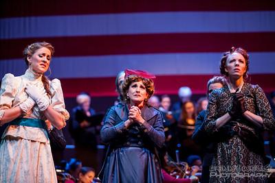 President Seance scene: Isabella (Katrina Thurman), Roxy (Joy Hermalyn), and Elizabeth (Rebecca Cloudy) in Anchorage Opera's world premier of Mrs. President.