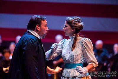 President Katrina Thurman as Isabella Beecher and Scott Ramsaey as Henry Ward Beecher in Anchorage Opera's world premier of Mrs. President.