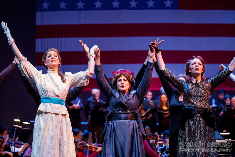 President<br /> Seance scene: Isabella (Katrina Thurman), Roxy (Joy Hermalyn), and Elizabeth (Rebecca Cloudy) in Anchorage Opera's world premier of Mrs. President.