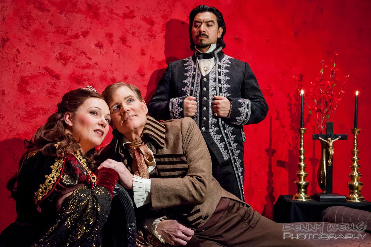 AO Tosca Tosca (Marie Plette), Cavaradosi (Michael Hayes) and Scarpia (Luis Ledesma) in Anchorage Opera's Tosca.