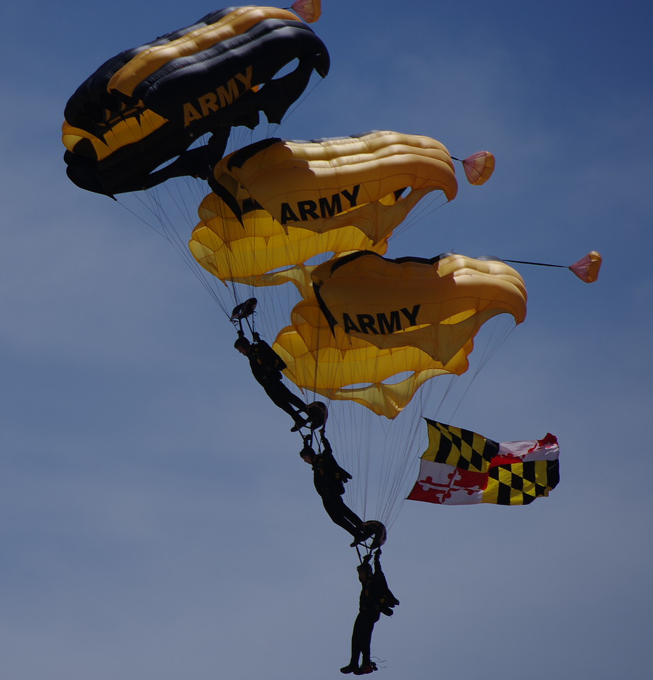 Golden Knights Parachute Team Drop into the Andrew Air Force Base Airshow