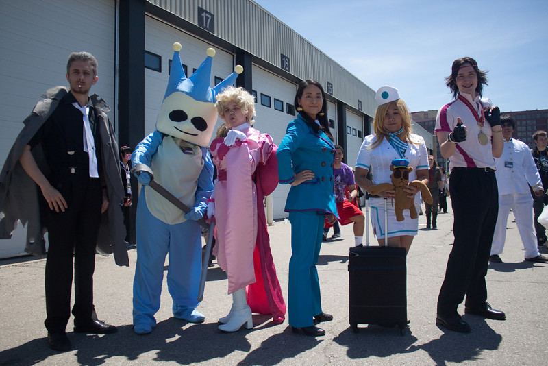 (L-R) Tyrell Badd, Proto Badger, Wendy Oldbag (Pink Princess), Calisto Yew, Cammy Meele, Jacques Portsman from Ace Attorney Investigations: Miles Edgeworth