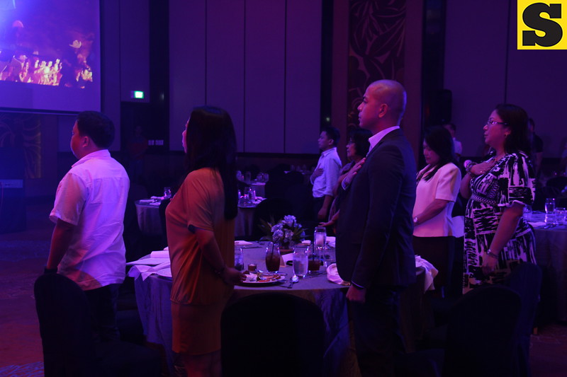 Singing of Philippine national anthem during the Globe Cebu Media Excellence Awards 2014