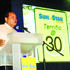 OUR THANKSGIVING. Lawyer Jesus B. Garcia, Jr. addresses advertisers, news sources and other guests during the Sun.Star Terrific @30 appreciation night in the Waterfront Cebu City Hotel and Casino on Saturday. (Sun.Star Photo/Arni Aclao)