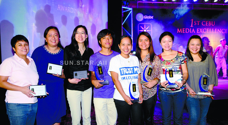 Sun.Star Cebu journalists were recognized in the First Cebu Media Excellence Awards organized by Globe Telecom on Tuesday. Six of seven awards in the print category went to these print journalists. (Allan Cuizon)