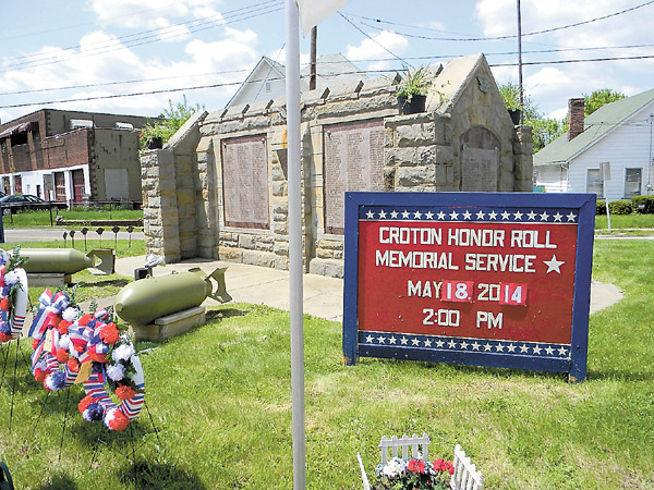 The Croton Honor Roll, dedicated in 1945, honors 550 Croton area residents who served in World War II. On Sunday, an annual service took place at the monument to salute those and all military veterans. — Dan Irwin