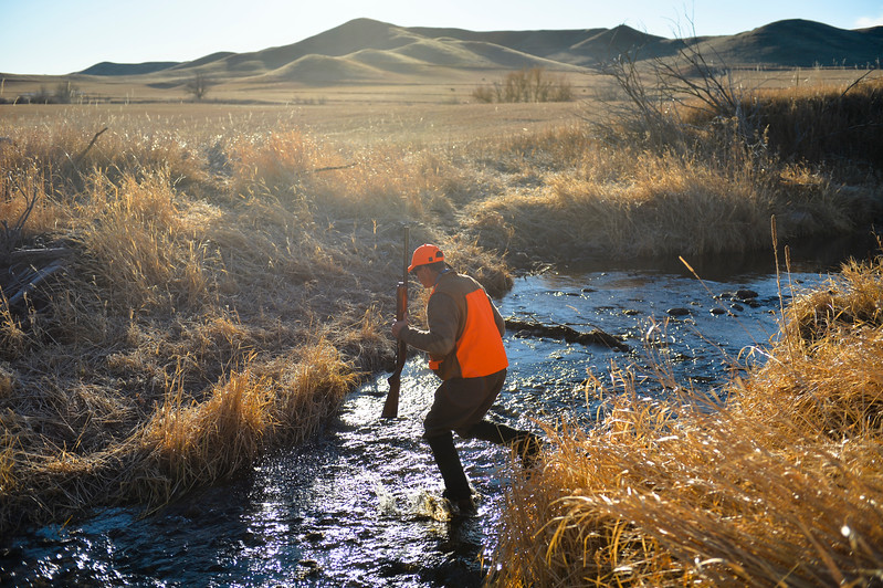 Justin Sheely | The Sheridan Press<br /> Chad Franklin crosses a creek as his daughter crosses downstream during the 5th-annual Kids' Pheasant Hunt Saturday at Fort Phil Kearny State Historic Site. The event provides an opportunity for youth to learn and practice safe hunting skills with experienced adults.