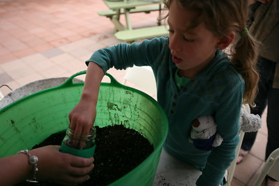 BOULDER, CO - Anthropologie on the 29th Street mall hosted a kids potting evenf for Earth Day where kids selected a free pot, added soil and seeds and got to decorate their pot.