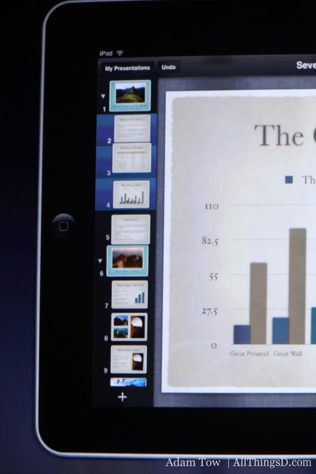 Schiller demos Keynote: slide navigator on left, tap to load individual slides.