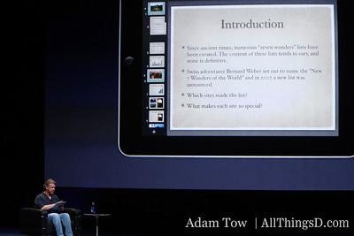 Apple's SVP of worldwide product marketing, Phil Schiller, demos iWork.