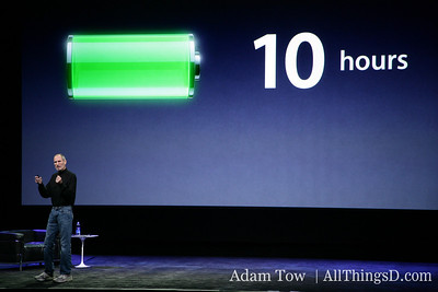 """In addition to 10 hours of battery life, iPad offers a full month of standby time,"" says Jobs."