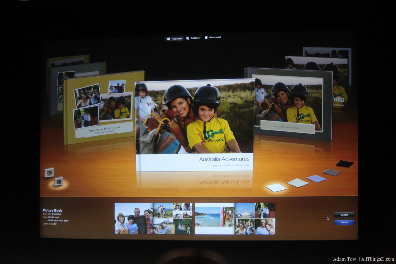 The updated Books feature in iPhoto.