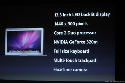 Specs on the 13.3 inch MacBook Air.