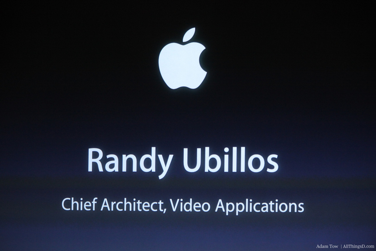 Randy Ubilos comes to the stage to talk about iMovie.