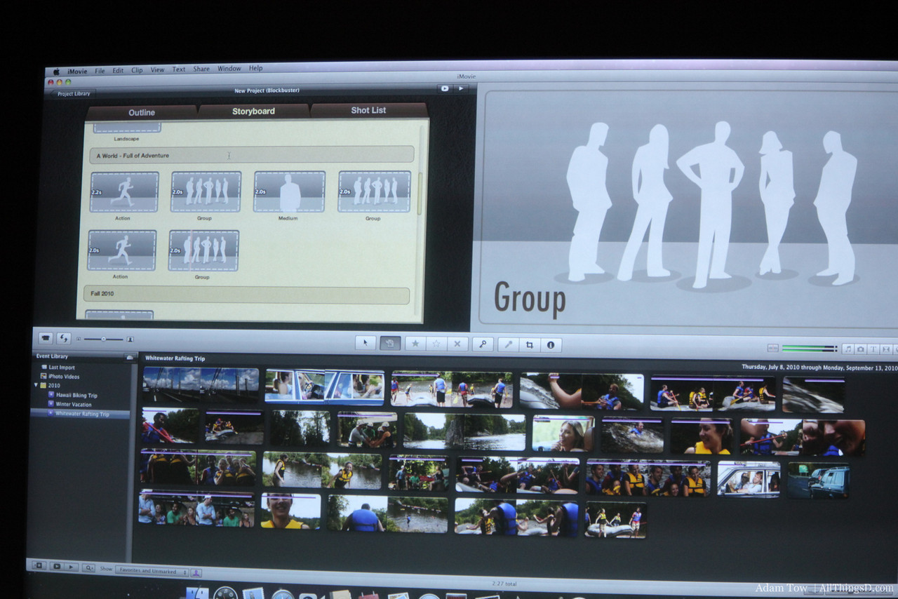 Populating the storyboard with clips.