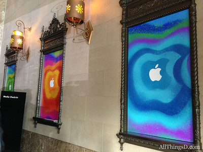 Posters outside the California theater in San Jose, where Apple held its event.