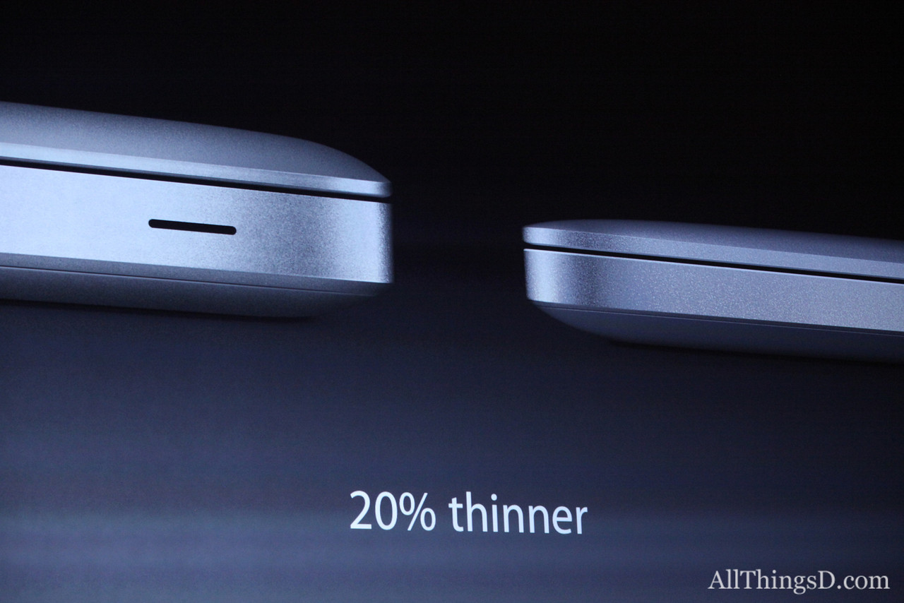 In addition to being thinner, the new MacBook Pro has a Retina Display like its 15-inch sibling.
