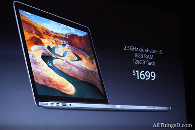 The $1699 price tag of the 13-inch MacBook Pro with a Retina display is $500 more than its Retina-less $1199 counterpart. Meanwhile, the MacBook Air still costs $999.